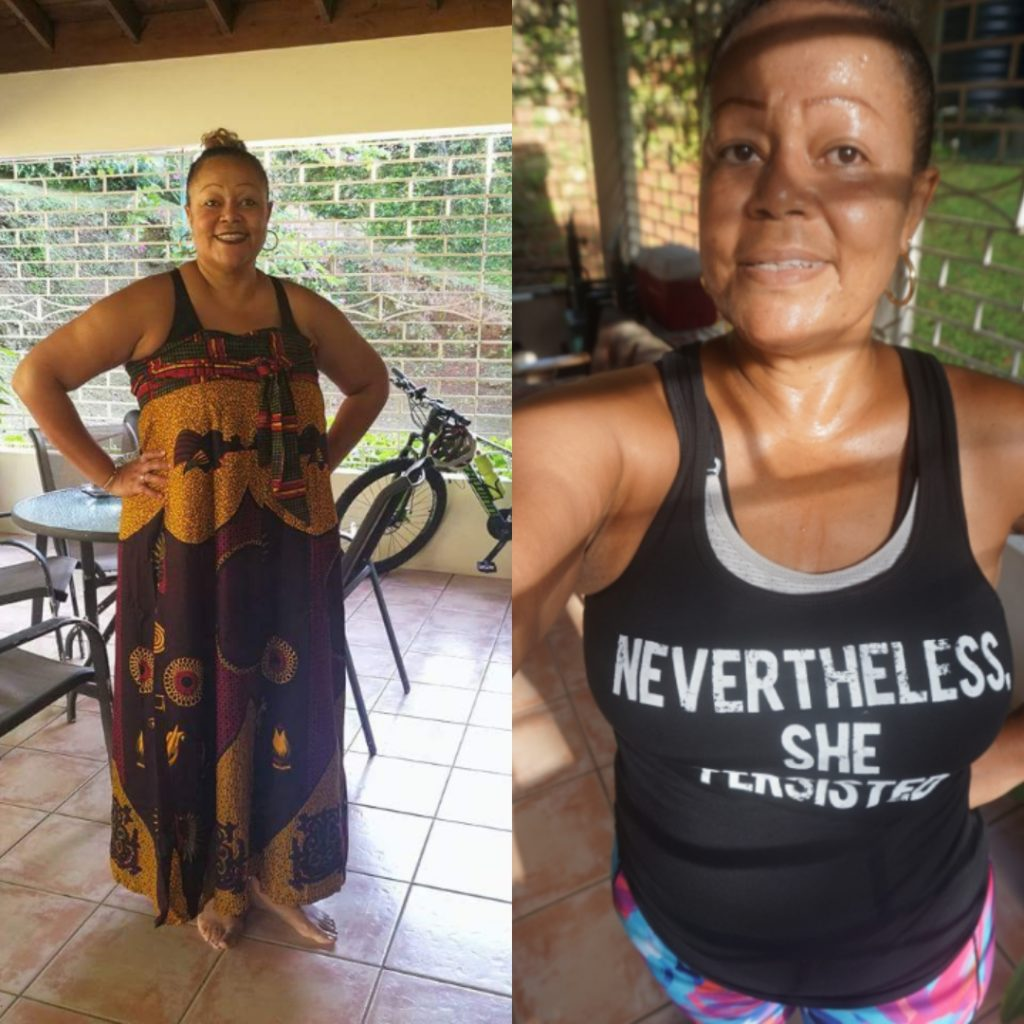 Before and after weight loss transformation on keto