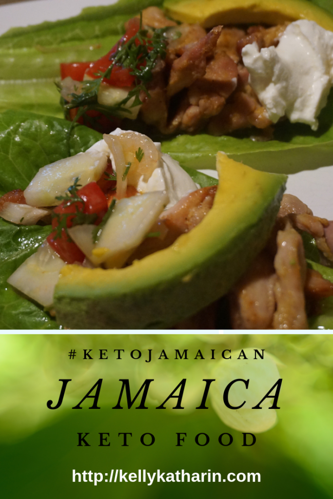Jamaican keto food: spicy chicken strips with avocado wrapped in lettuce leaves