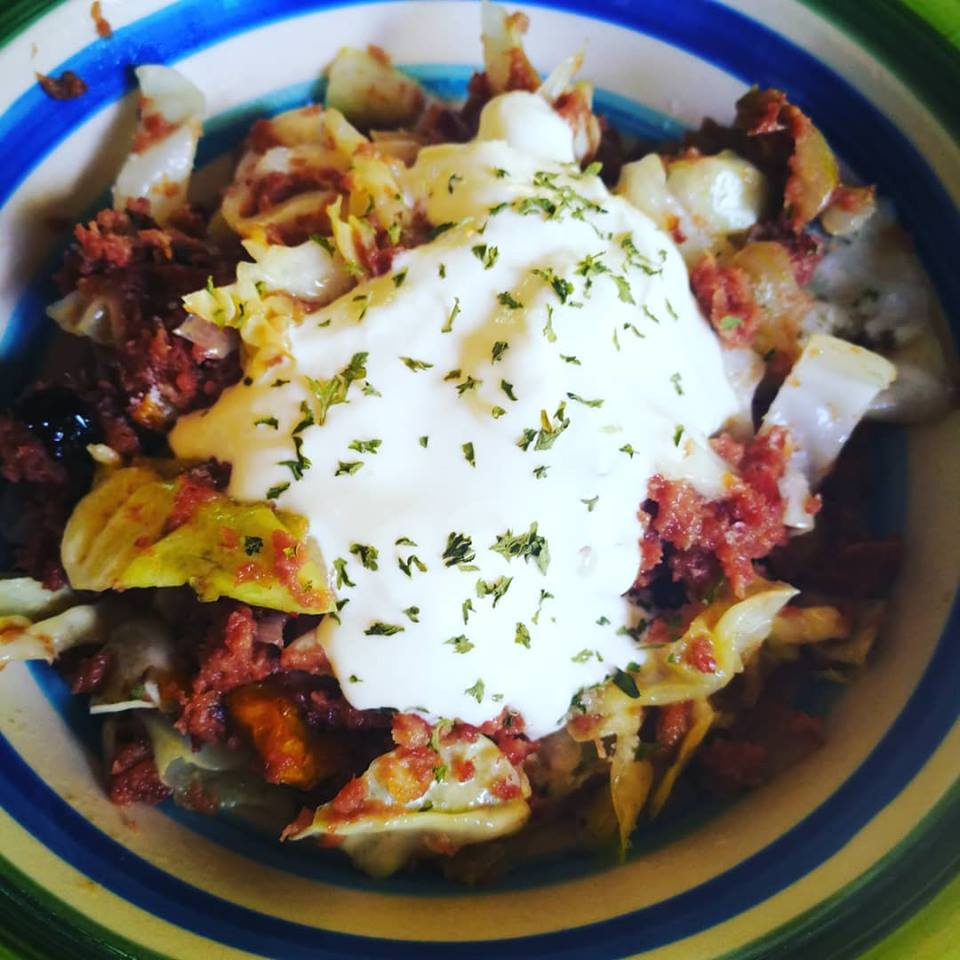 Corned beef and cabbage with a dollop of sour cream