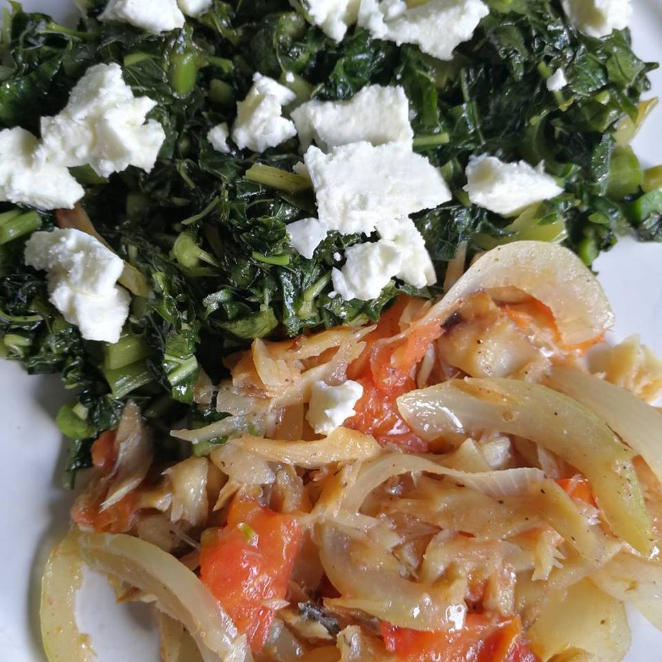 Saltfish with onions & tomato with callaloo & feta cheese