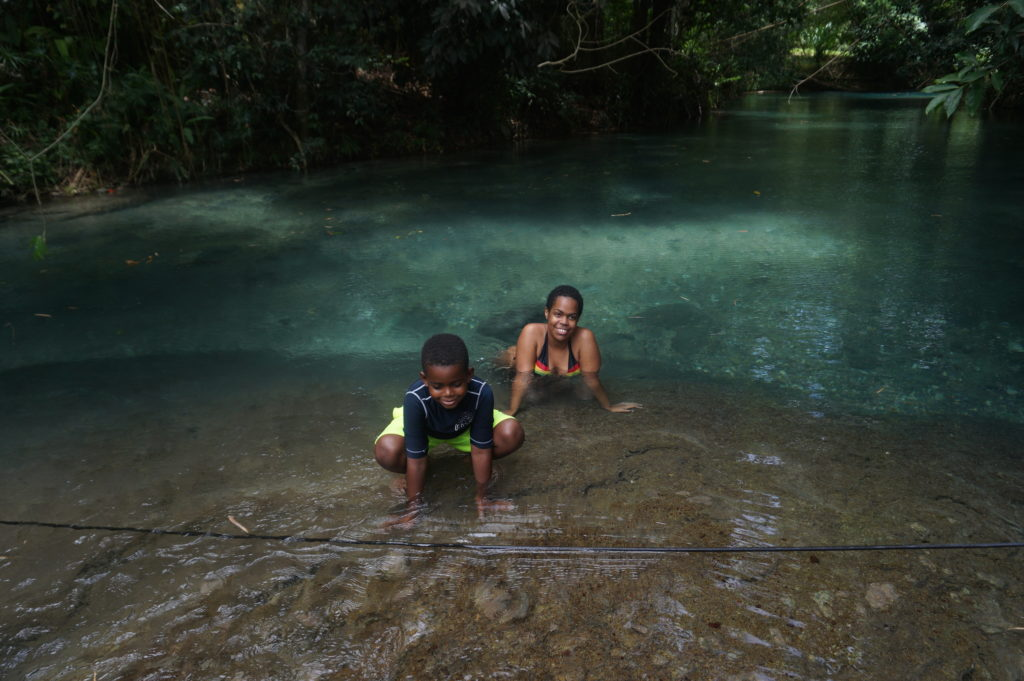 Enjoying the beautiful White River at Hidden Beauty, Jamaica