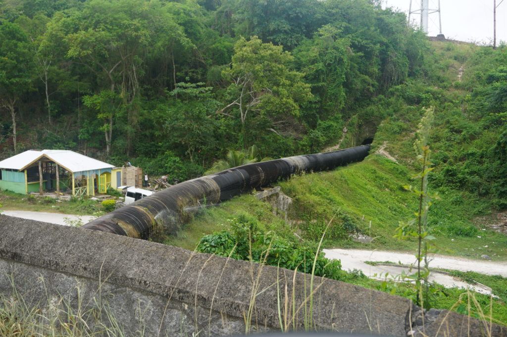 Part of the pipeline carrying water to the JPS Hydroelectric installation