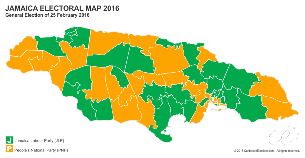 Jamaica constituency map after 2016 General Election