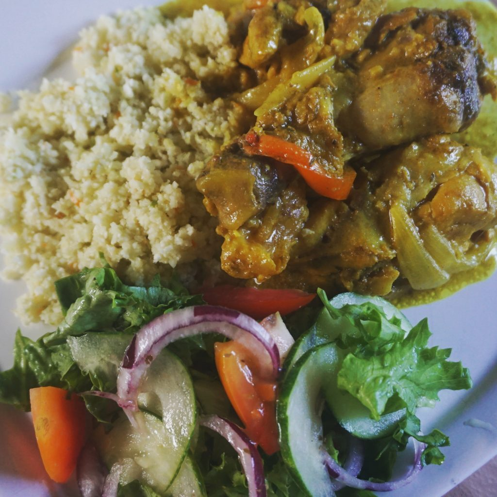 Low-carb Jamaican food: curried goat and cauliflower rice